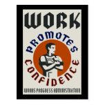 El trabajo promueve confianza tarjeta postal