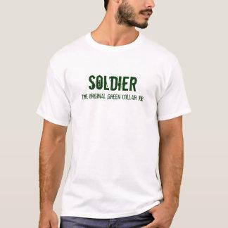 El trabajo verde original del cuello - camiseta