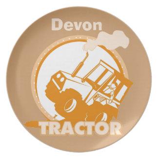 El tractor anaranjado personalizado embroma la pla plato de cena