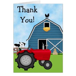 El tractor rojo lindo y el granero azul le agradec tarjetón