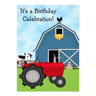 El tractor rojo y el cumpleaños azul del granero i