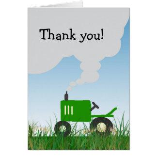 El tractor verde le agradece observar tarjeton