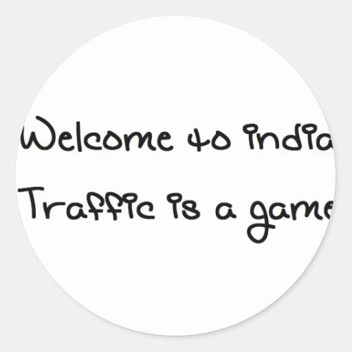 El tráfico es un juego pegatina redonda