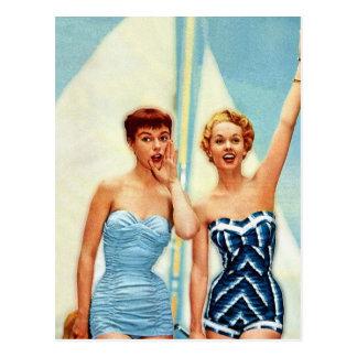 ¡El traje de baño retro de las mujeres 60s del vin Tarjeta Postal