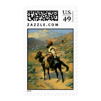 El trampero indio de Federico Remington (1889) Franqueo