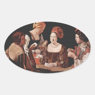 El tramposo (con el as de diamantes) - 1635 pegatina ovalada