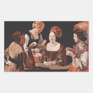 El tramposo (con el as de diamantes) - 1635 pegatina rectangular