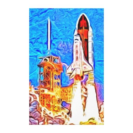 El transbordador espacial del descubrimiento quita impresiones de lienzo