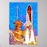 El transbordador espacial del descubrimiento quita impresiones