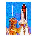 El transbordador espacial del descubrimiento quita tarjetas postales