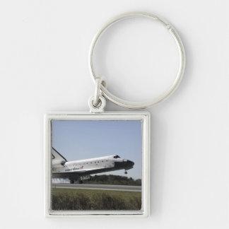 El transbordador espacial la Atlántida aterriza 3 Llavero Cuadrado Plateado