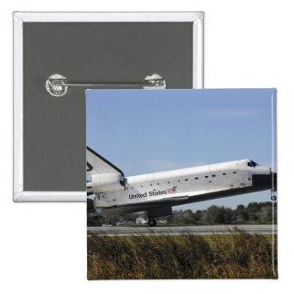El transbordador espacial la Atlántida aterriza Pin Cuadrado