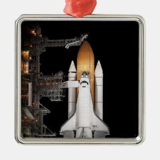 El transbordador espacial la Atlántida sienta Adorno Navideño Cuadrado De Metal