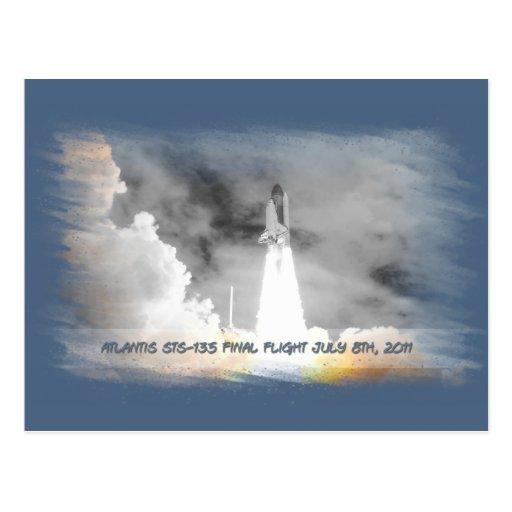 El transbordador espacial STS-135 de la Atlántida Postales