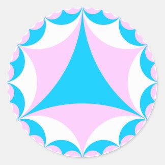 El transexual/el intersex colorea fractal pegatina redonda