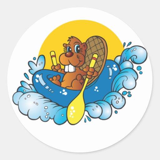 El transportar en balsa de río del castor del pegatina redonda