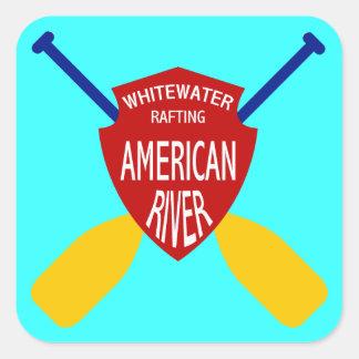El transportar en balsa de Whitewater americano de Calcomanía Cuadradas