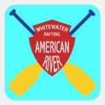 El transportar en balsa de Whitewater americano Calcomanía Cuadradas