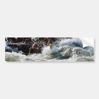 El transportar en balsa del agua blanca pegatina de parachoque