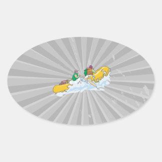 el transportar en balsa en el gráfico del whitewat pegatinas de oval personalizadas