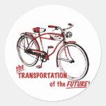 El transporte del futuro pegatina redonda