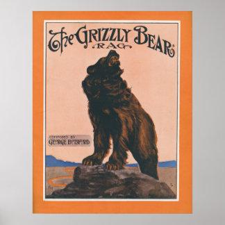 El trapo del oso grizzly impresiones