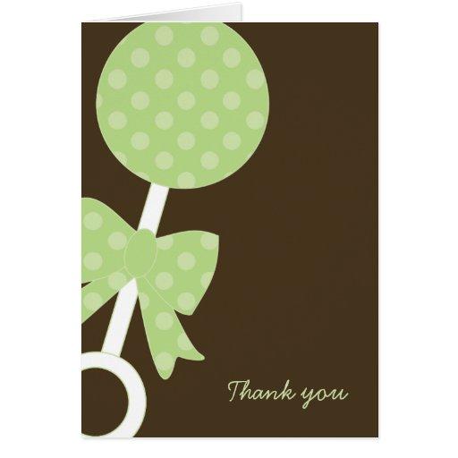 El traqueteo verde de los lunares le agradece las tarjeta pequeña