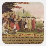 El tratado de Penn con los indios en 1682, c.1840 Pegatina Cuadrada