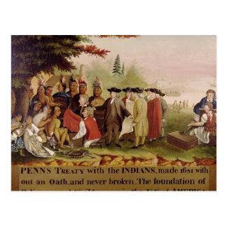 El tratado de Penn con los indios en 1682, c.1840 Postal