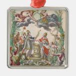 El tratado de Versalles en 1768 Adorno Navideño Cuadrado De Metal