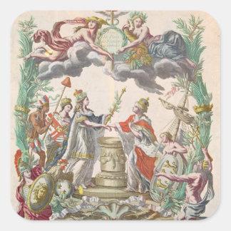 El tratado de Versalles en 1768 Pegatina Cuadrada
