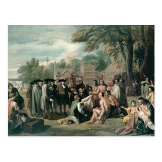 El tratado de William Penn con los indios adentro Postal