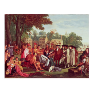 El tratado de William Penn con los indios en 1683 Postal