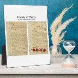 El tratado ORIGINAL de París 1783 Placa Para Mostrar