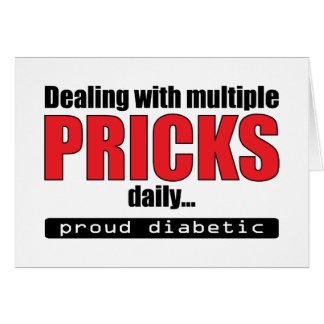 El tratar de los pinchazos múltiples diariamente ( tarjeta de felicitación