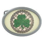 El trébol beige en Celtic anuda la hebilla del cin Hebillas De Cinturon Ovales