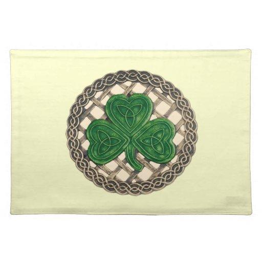 El trébol beige en Celtic anuda Placemat Manteles