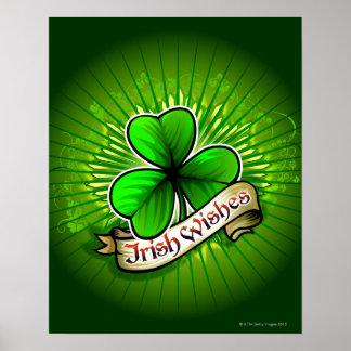 """El trébol con el """"irlandés desea"""" la bandera póster"""