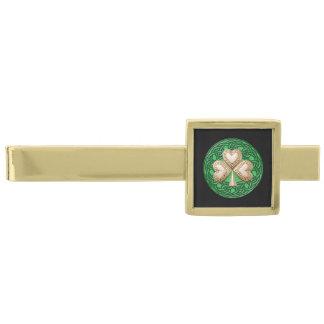 El trébol del oro en Celtic anuda la barra de lazo Alfiler De Corbata Dorado