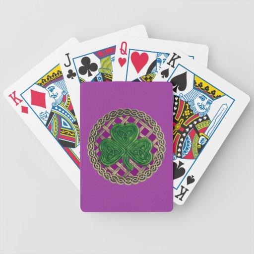 El trébol púrpura en Celtic anuda naipes Baraja Cartas De Poker