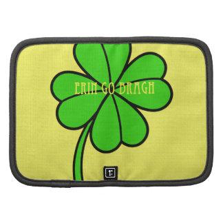 El trébol verde Erin de la hoja del trébol cuatro  Organizadores