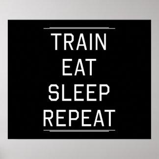 El tren come la repetición del sueño póster