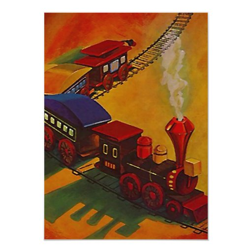 """El tren de ferrocarril del juguete RR sigue Invitación 4.5"""" X 6.25"""""""