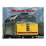 El tren de ferrocarril le agradece postal del cump