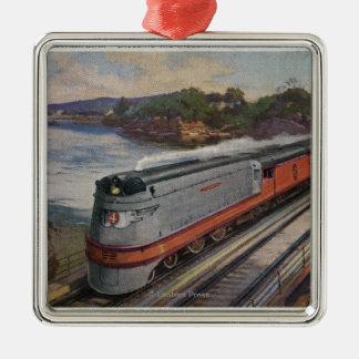 El tren de la línea aerodinámica de Hiawatha Adorno Navideño Cuadrado De Metal