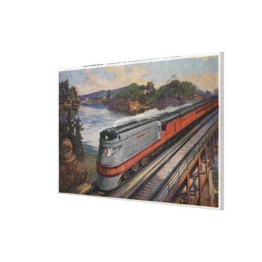 El tren de la línea aerodinámica de Hiawatha Lienzo Envuelto Para Galerias