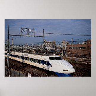 El tren de Shinkansen o de bala, Kyoto, Japón Póster