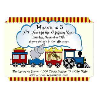 """El tren del circo embroma cumpleaños invitación 5"""" x 7"""""""