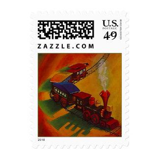 El tren del juguete SELLA la locomotora y el coche Sellos
