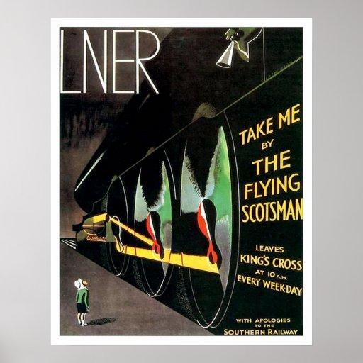 El tren del Scotsman del vuelo - poster medio